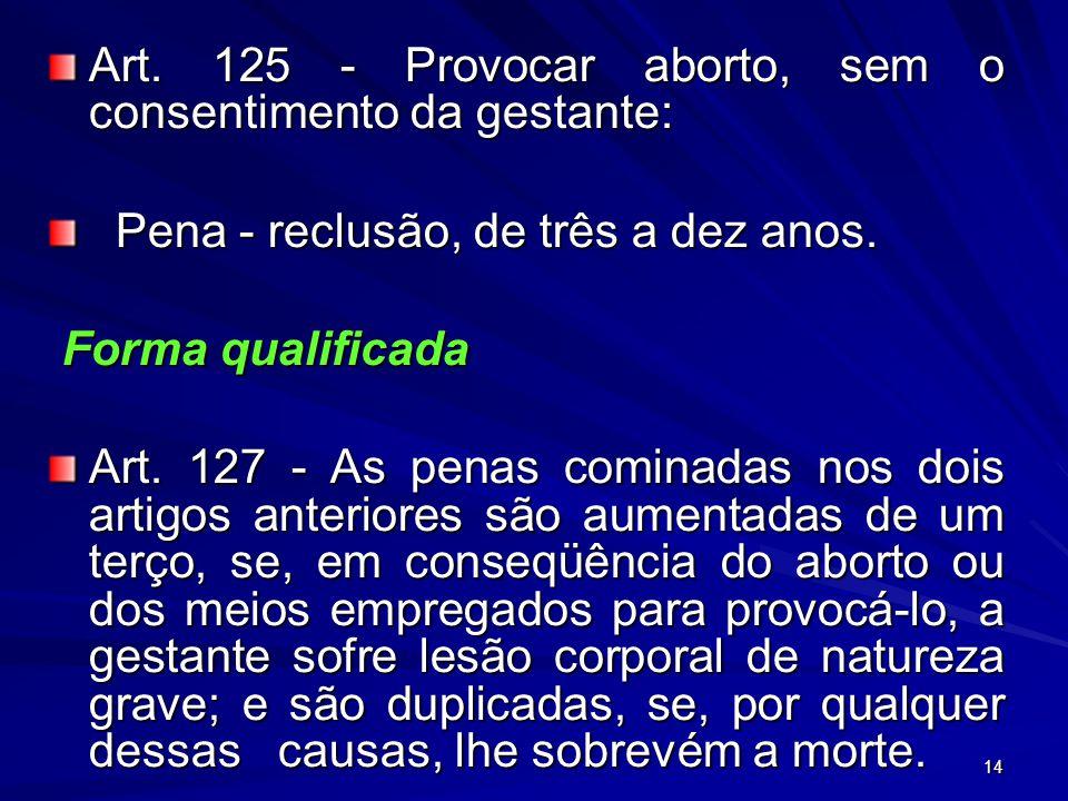 14 Art. 125 - Provocar aborto, sem o consentimento da gestante: Pena - reclusão, de três a dez anos. Pena - reclusão, de três a dez anos. Forma qualif
