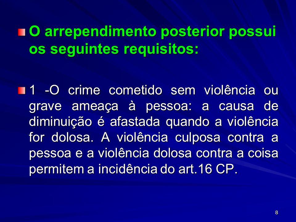 8 O arrependimento posterior possui os seguintes requisitos: 1 -O crime cometido sem violência ou grave ameaça à pessoa: a causa de diminuição é afast
