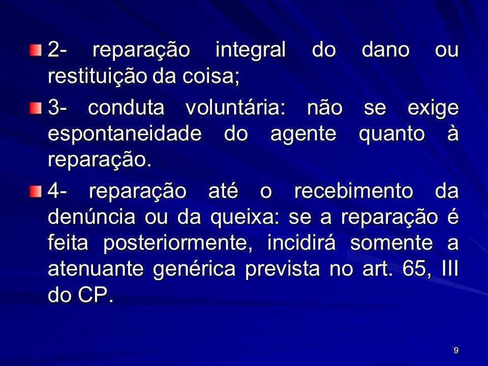 9 2- reparação integral do dano ou restituição da coisa; 3- conduta voluntária: não se exige espontaneidade do agente quanto à reparação. 4- reparação