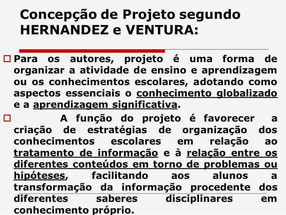 Concepção de Projeto segundo HERNANDEZ e VENTURA: Para os autores, projeto é uma forma de organizar a atividade de ensino e aprendizagem ou os conheci