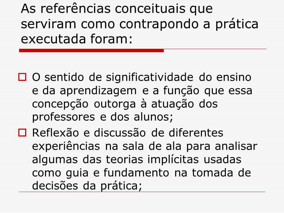 As referências conceituais que serviram como contrapondo a prática executada foram: O sentido de significatividade do ensino e da aprendizagem e a fun