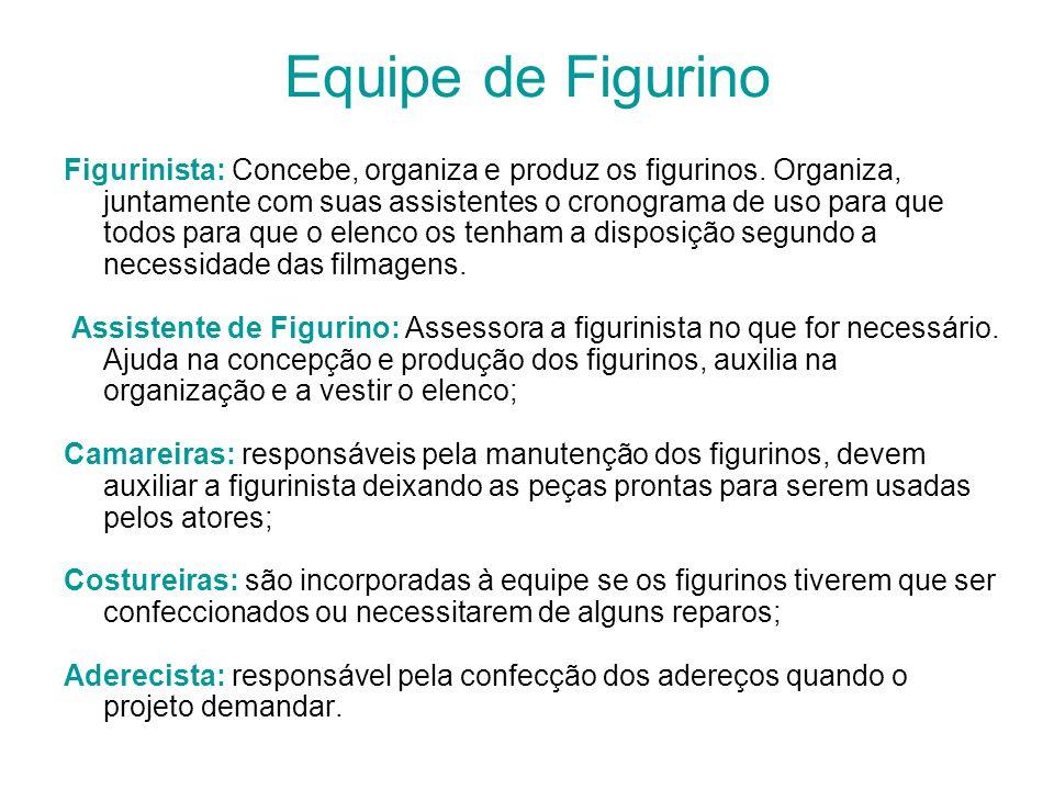 Equipe de Figurino Figurinista: Concebe, organiza e produz os figurinos. Organiza, juntamente com suas assistentes o cronograma de uso para que todos
