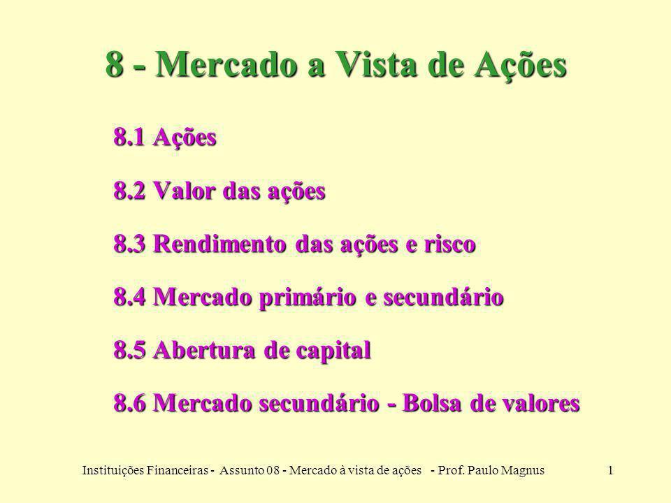 1Instituições Financeiras - Assunto 08 - Mercado à vista de ações - Prof. Paulo Magnus 8 - Mercado a Vista de Ações 8.1 Ações 8.2 Valor das ações 8.3