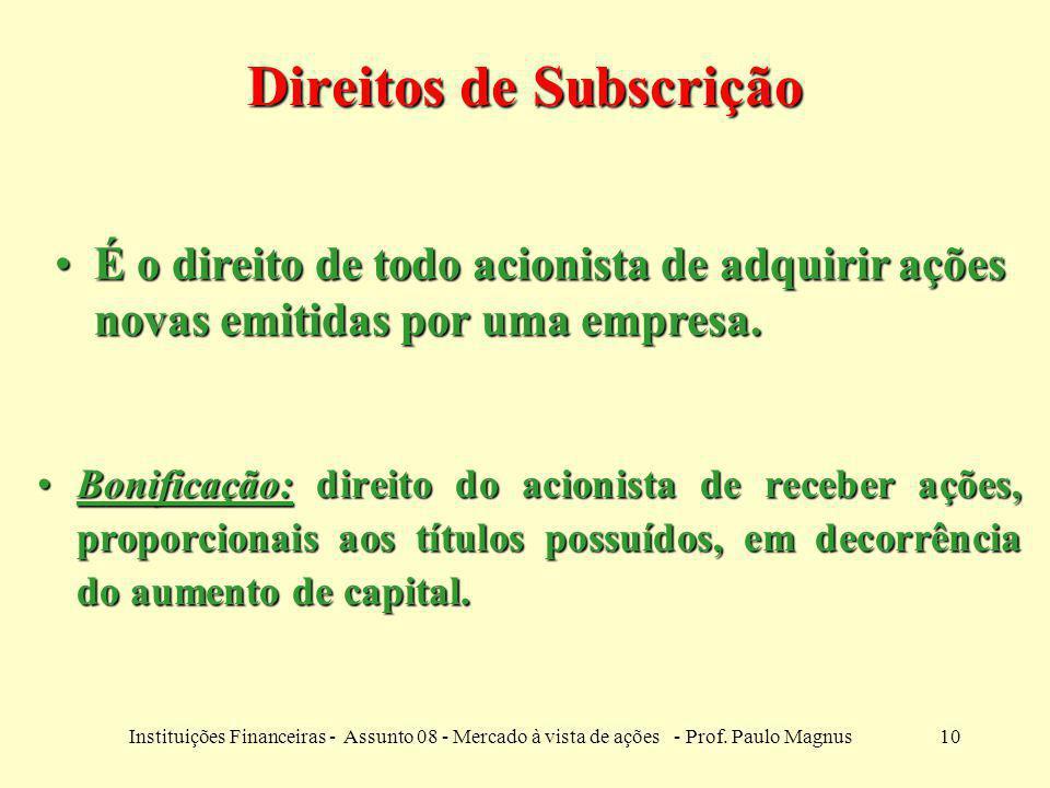 10Instituições Financeiras - Assunto 08 - Mercado à vista de ações - Prof. Paulo Magnus Bonificação: direito do acionista de receber ações, proporcion