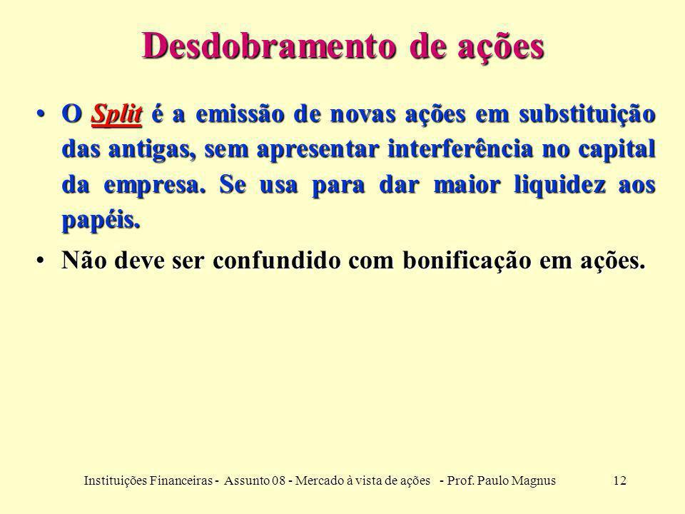 12Instituições Financeiras - Assunto 08 - Mercado à vista de ações - Prof. Paulo Magnus Desdobramento de ações O Split é a emissão de novas ações em s