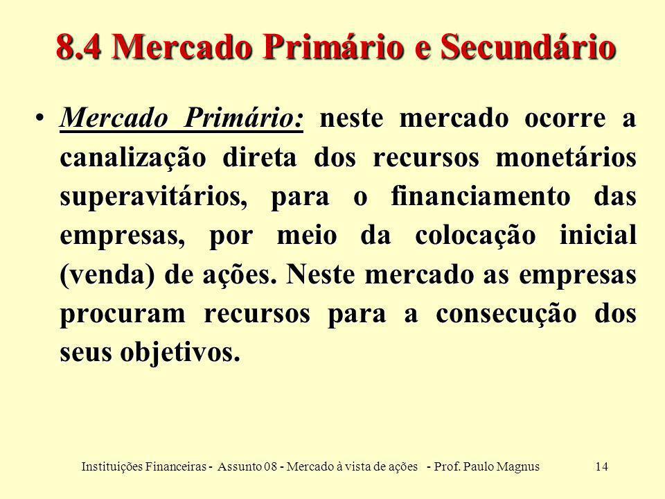 14Instituições Financeiras - Assunto 08 - Mercado à vista de ações - Prof. Paulo Magnus 8.4 Mercado Primário e Secundário Mercado Primário: neste merc