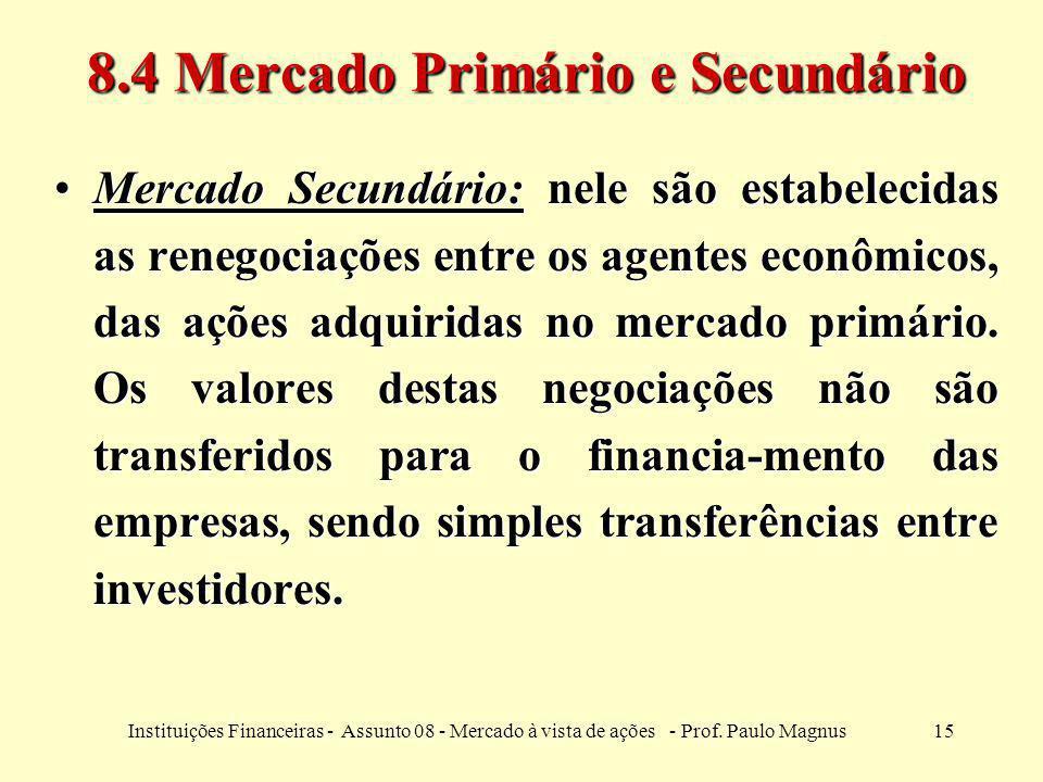15Instituições Financeiras - Assunto 08 - Mercado à vista de ações - Prof. Paulo Magnus 8.4 Mercado Primário e Secundário Mercado Secundário: nele são