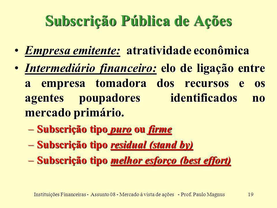 19Instituições Financeiras - Assunto 08 - Mercado à vista de ações - Prof. Paulo Magnus Subscrição Pública de Ações Empresa emitente: atratividade eco