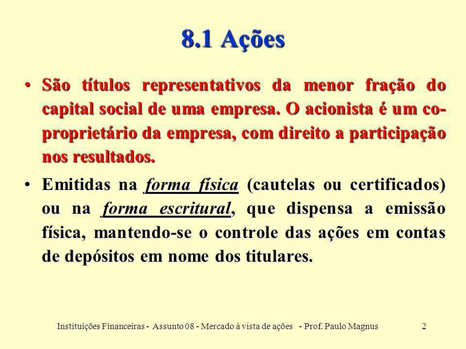 2Instituições Financeiras - Assunto 08 - Mercado à vista de ações - Prof. Paulo Magnus 8.1 Ações São títulos representativos da menor fração do capita