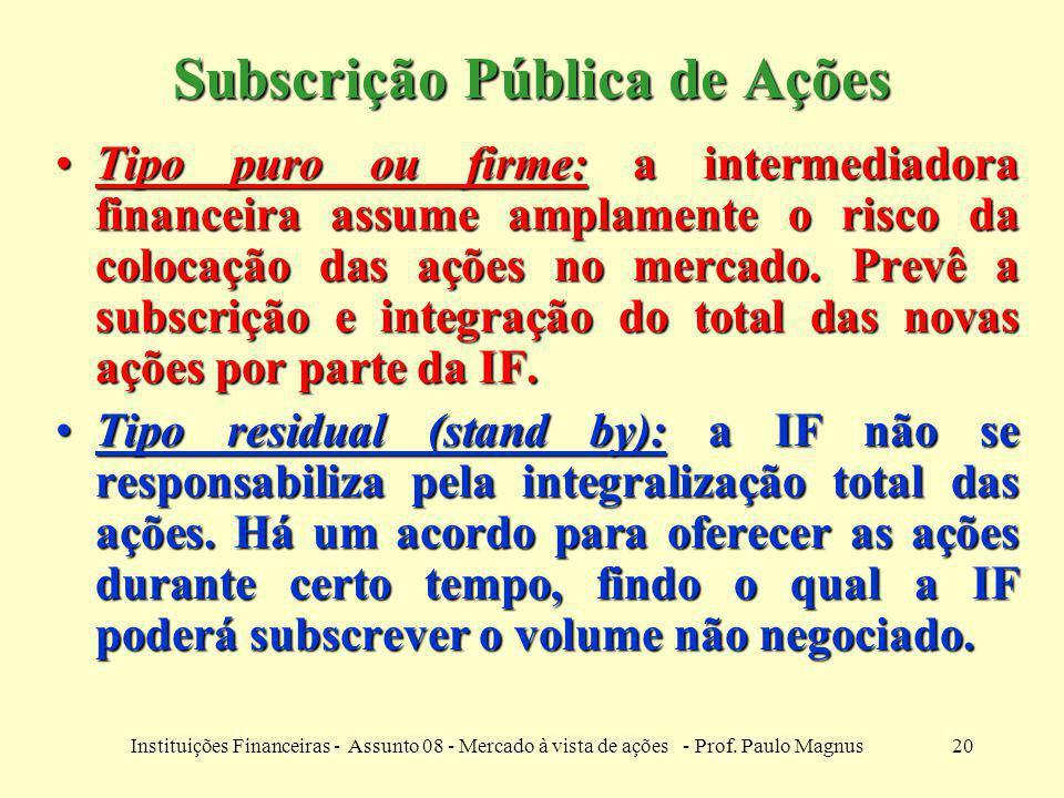 20Instituições Financeiras - Assunto 08 - Mercado à vista de ações - Prof. Paulo Magnus Subscrição Pública de Ações Tipo puro ou firme: a intermediado