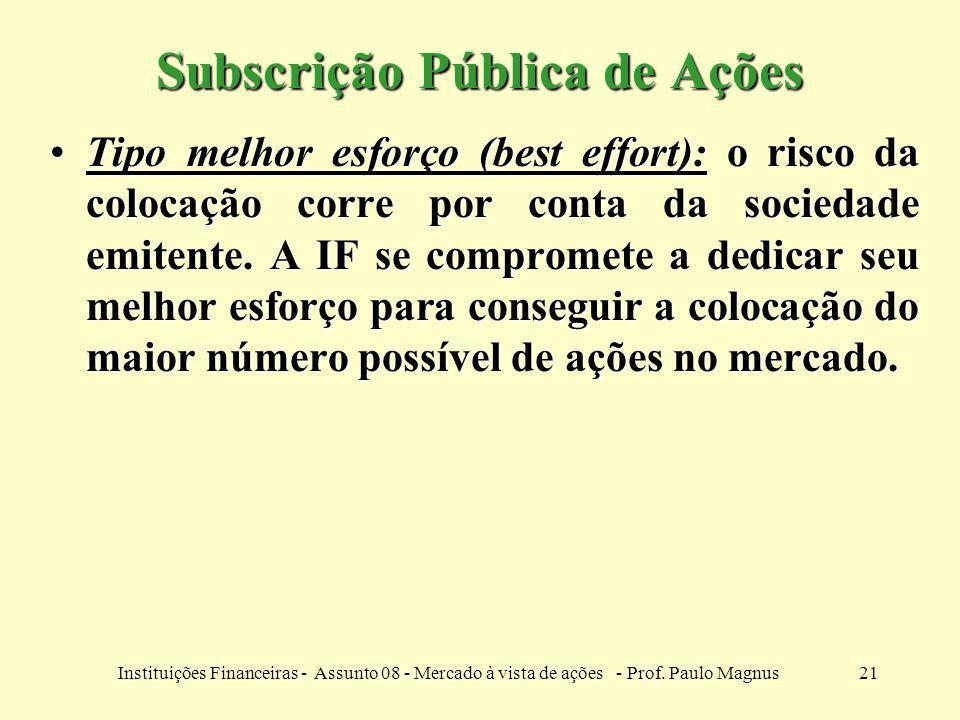 21Instituições Financeiras - Assunto 08 - Mercado à vista de ações - Prof. Paulo Magnus Subscrição Pública de Ações Tipo melhor esforço (best effort):