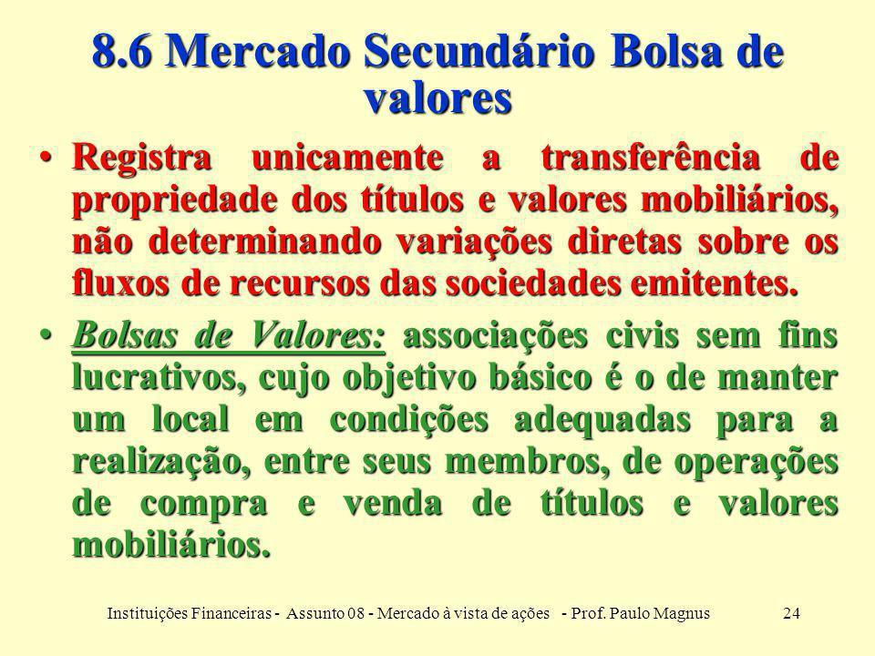 24Instituições Financeiras - Assunto 08 - Mercado à vista de ações - Prof. Paulo Magnus 8.6 Mercado Secundário Bolsa de valores Registra unicamente a