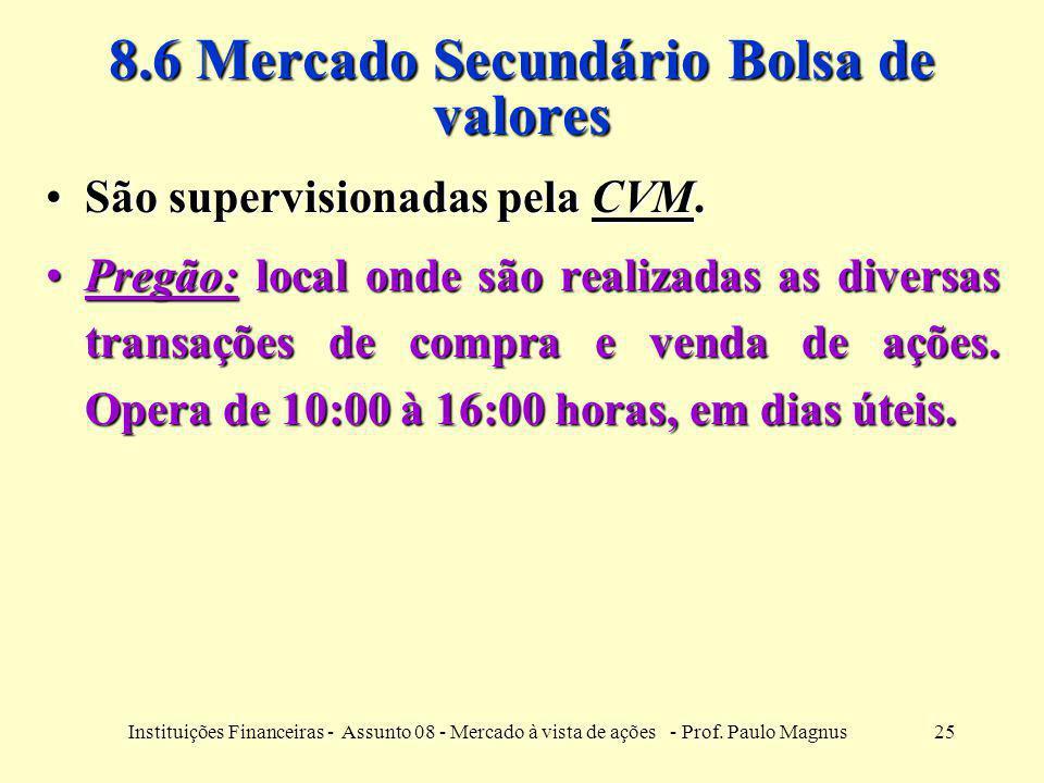 25Instituições Financeiras - Assunto 08 - Mercado à vista de ações - Prof. Paulo Magnus 8.6 Mercado Secundário Bolsa de valores São supervisionadas pe