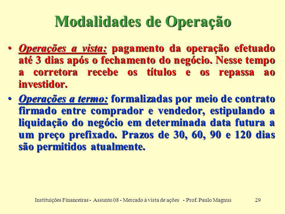 29Instituições Financeiras - Assunto 08 - Mercado à vista de ações - Prof. Paulo Magnus Modalidades de Operação Operações a vista: pagamento da operaç