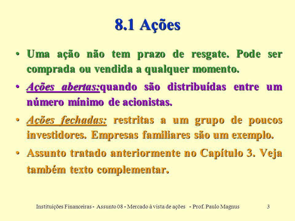 4Instituições Financeiras - Assunto 08 - Mercado à vista de ações - Prof.