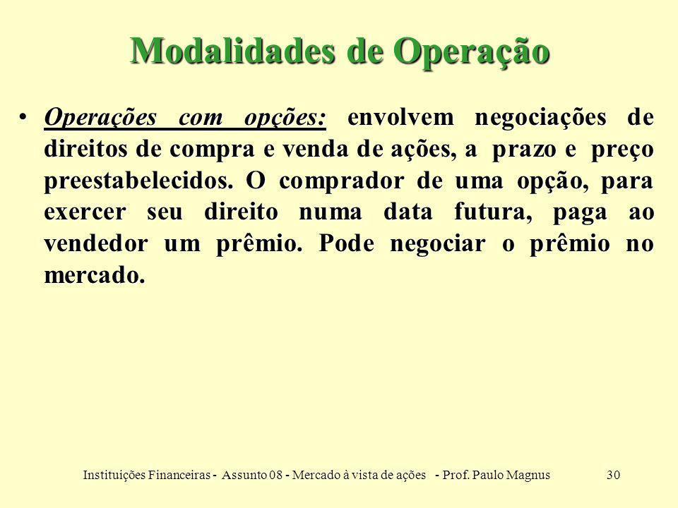30Instituições Financeiras - Assunto 08 - Mercado à vista de ações - Prof. Paulo Magnus Modalidades de Operação Operações com opções: envolvem negocia