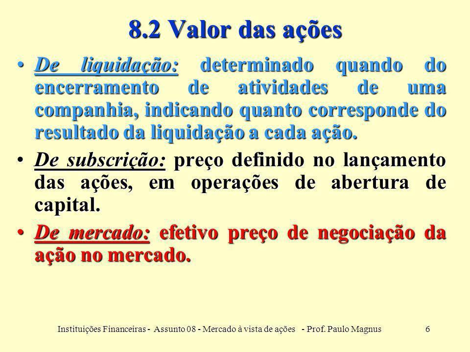 6Instituições Financeiras - Assunto 08 - Mercado à vista de ações - Prof. Paulo Magnus 8.2 Valor das ações De liquidação: determinado quando do encerr