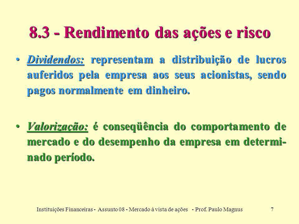 7Instituições Financeiras - Assunto 08 - Mercado à vista de ações - Prof. Paulo Magnus 8.3 - Rendimento das ações e risco Dividendos: representam a di