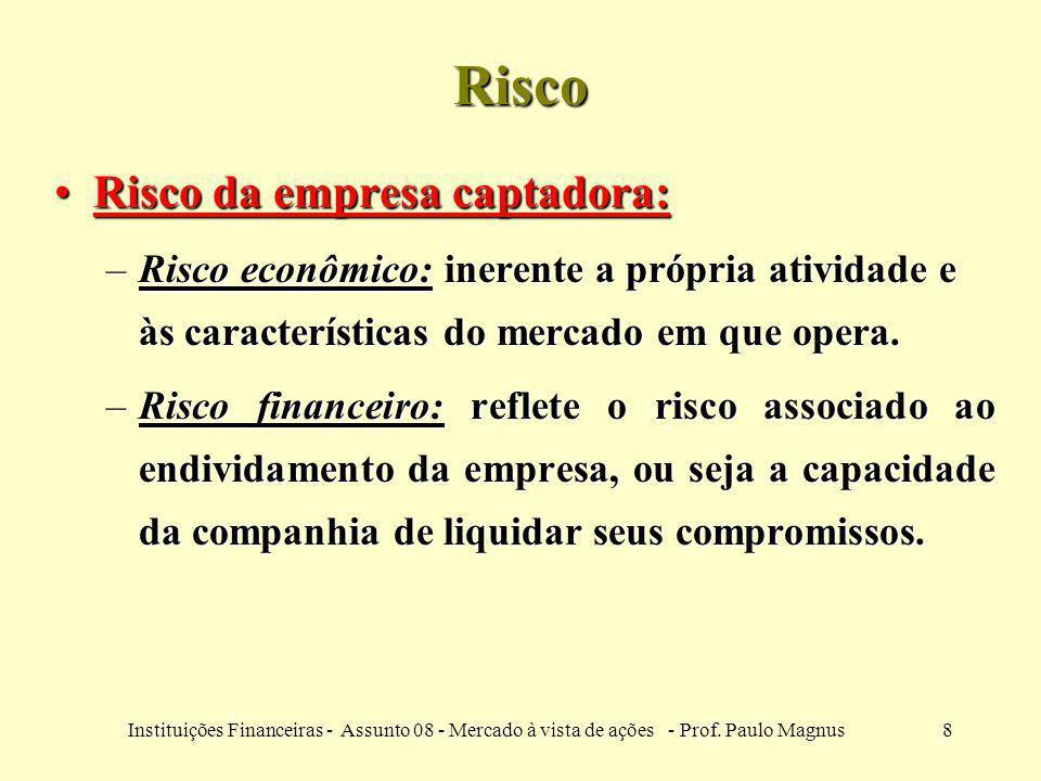 8Instituições Financeiras - Assunto 08 - Mercado à vista de ações - Prof. Paulo Magnus Risco Risco da empresa captadora:Risco da empresa captadora: –R