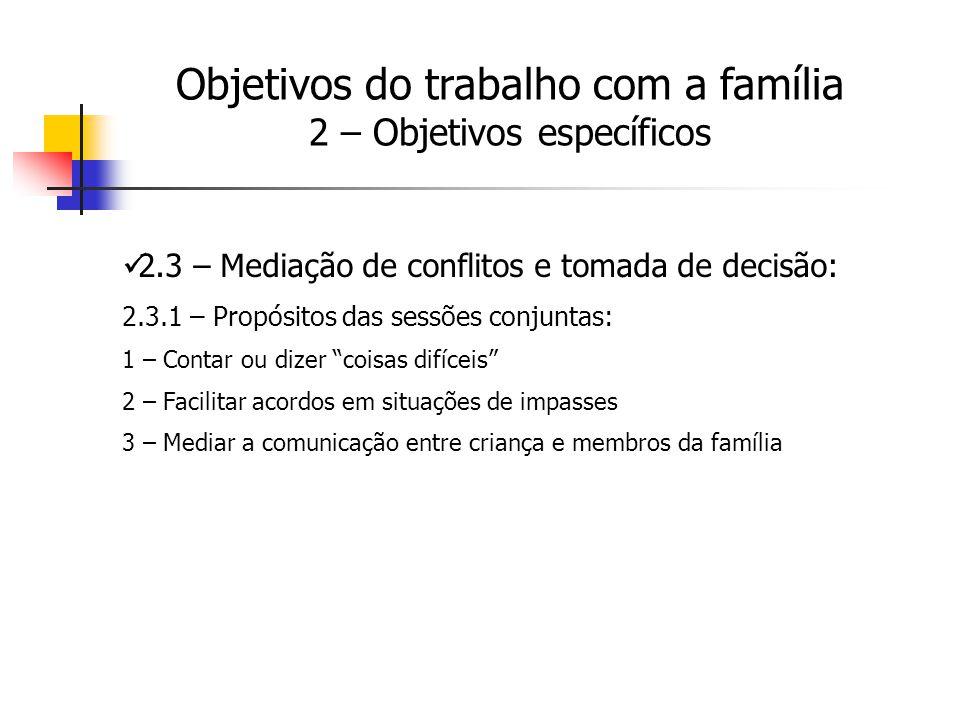 2.3 – Mediação de conflitos e tomada de decisão: 2.3.1 – Propósitos das sessões conjuntas: 1 – Contar ou dizer coisas difíceis 2 – Facilitar acordos e