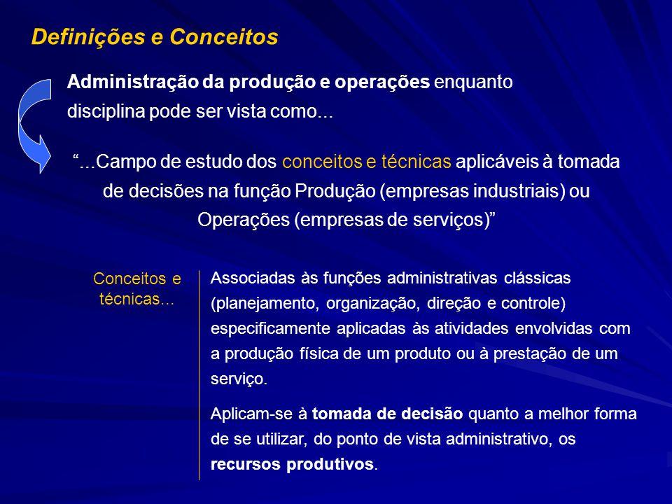 Administração da produção e operações enquanto disciplina pode ser vista como......Campo de estudo dos conceitos e técnicas aplicáveis à tomada de dec