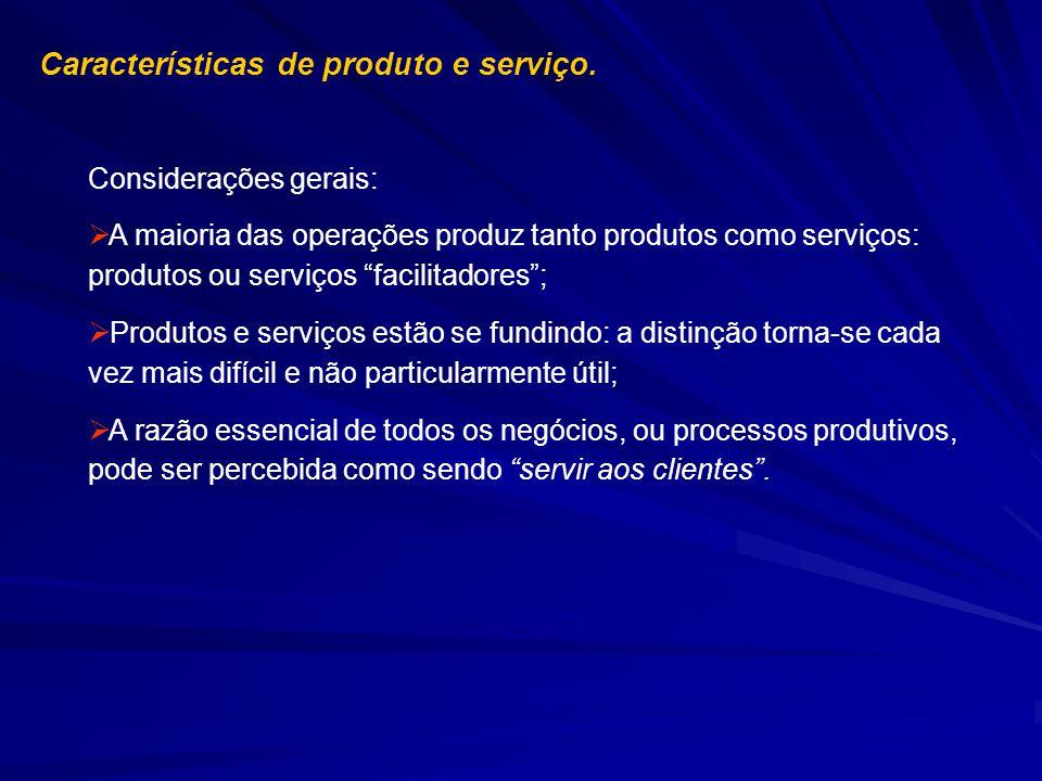 Características de produto e serviço. Considerações gerais: A maioria das operações produz tanto produtos como serviços: produtos ou serviços facilita