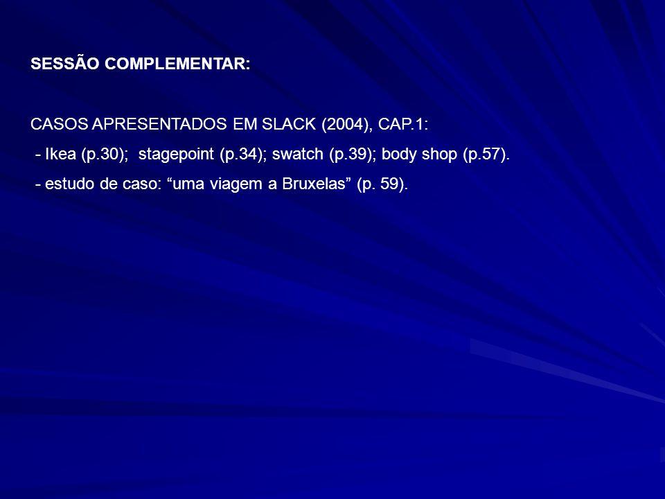SESSÃO COMPLEMENTAR: CASOS APRESENTADOS EM SLACK (2004), CAP.1: - Ikea (p.30); stagepoint (p.34); swatch (p.39); body shop (p.57).