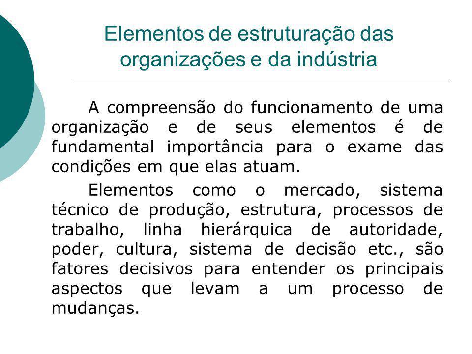 Elementos de estruturação das organizações e da indústria A compreensão do funcionamento de uma organização e de seus elementos é de fundamental impor