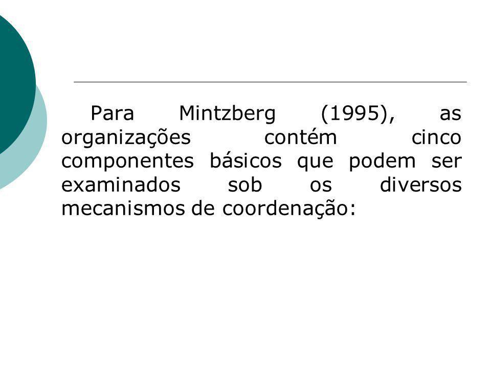 Para Mintzberg (1995), as organizações contém cinco componentes básicos que podem ser examinados sob os diversos mecanismos de coordenação: