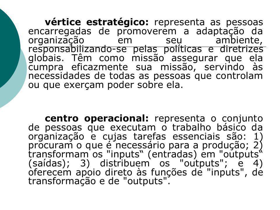 vértice estratégico: representa as pessoas encarregadas de promoverem a adaptação da organização em seu ambiente, responsabilizando-se pelas políticas