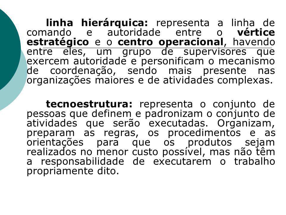 linha hierárquica: representa a linha de comando e autoridade entre o vértice estratégico e o centro operacional, havendo entre eles, um grupo de supe