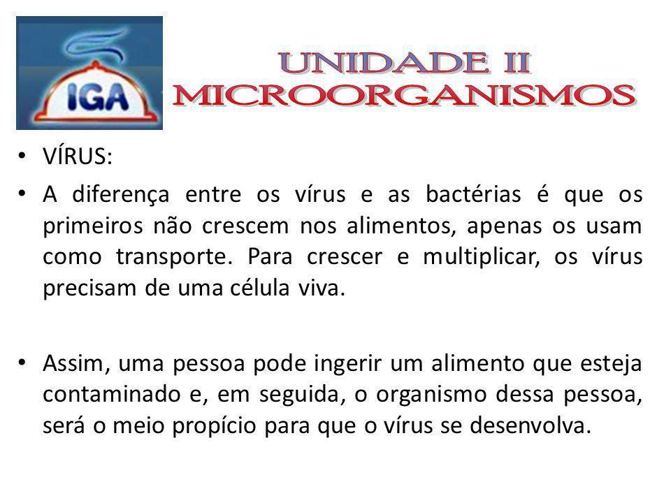 VÍRUS: A diferença entre os vírus e as bactérias é que os primeiros não crescem nos alimentos, apenas os usam como transporte.
