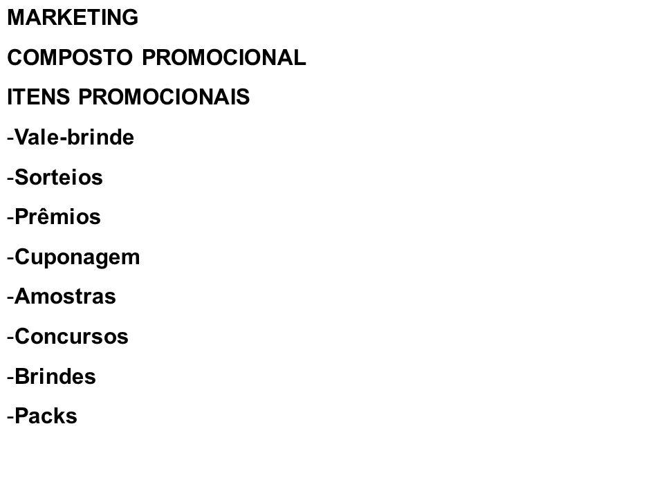 MARKETING COMPOSTO PROMOCIONAL ITENS PROMOCIONAIS -Vale-brinde -Sorteios -Prêmios -Cuponagem -Amostras -Concursos -Brindes -Packs
