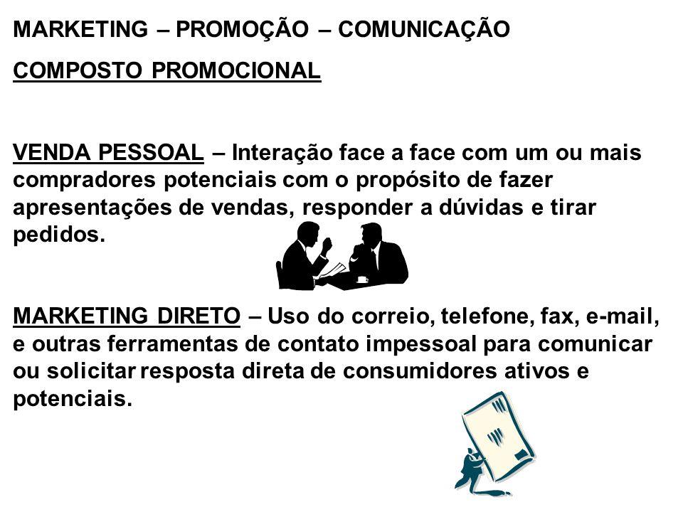 MARKETING – PROMOÇÃO – COMUNICAÇÃO COMPOSTO PROMOCIONAL VENDA PESSOAL – Interação face a face com um ou mais compradores potenciais com o propósito de