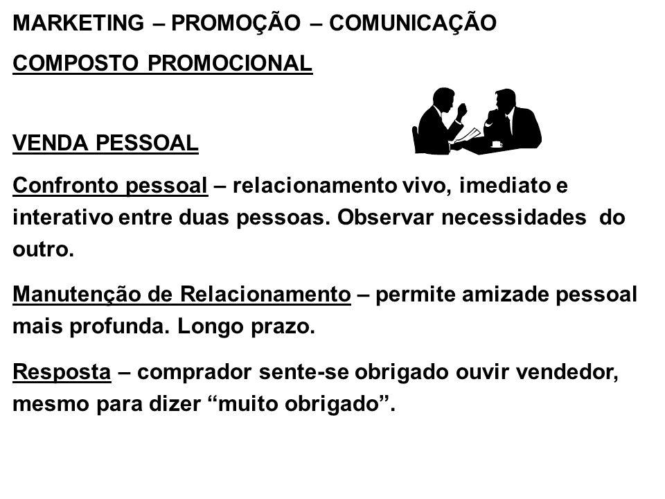 MARKETING – PROMOÇÃO – COMUNICAÇÃO COMPOSTO PROMOCIONAL VENDA PESSOAL Confronto pessoal – relacionamento vivo, imediato e interativo entre duas pessoa