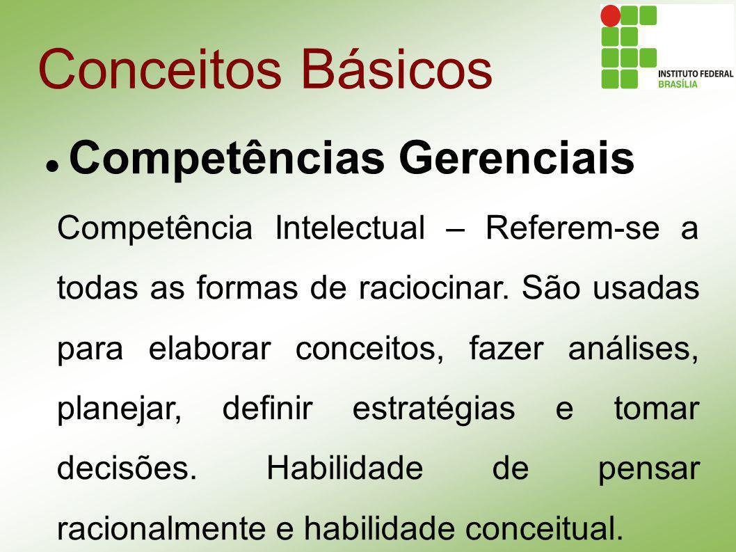 Conceitos Básicos Competências Gerenciais Competência Intelectual – Referem-se a todas as formas de raciocinar. São usadas para elaborar conceitos, fa