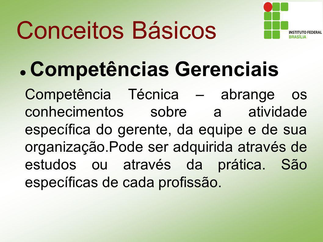 Conceitos Básicos Competências Gerenciais Competência Técnica – abrange os conhecimentos sobre a atividade específica do gerente, da equipe e de sua o