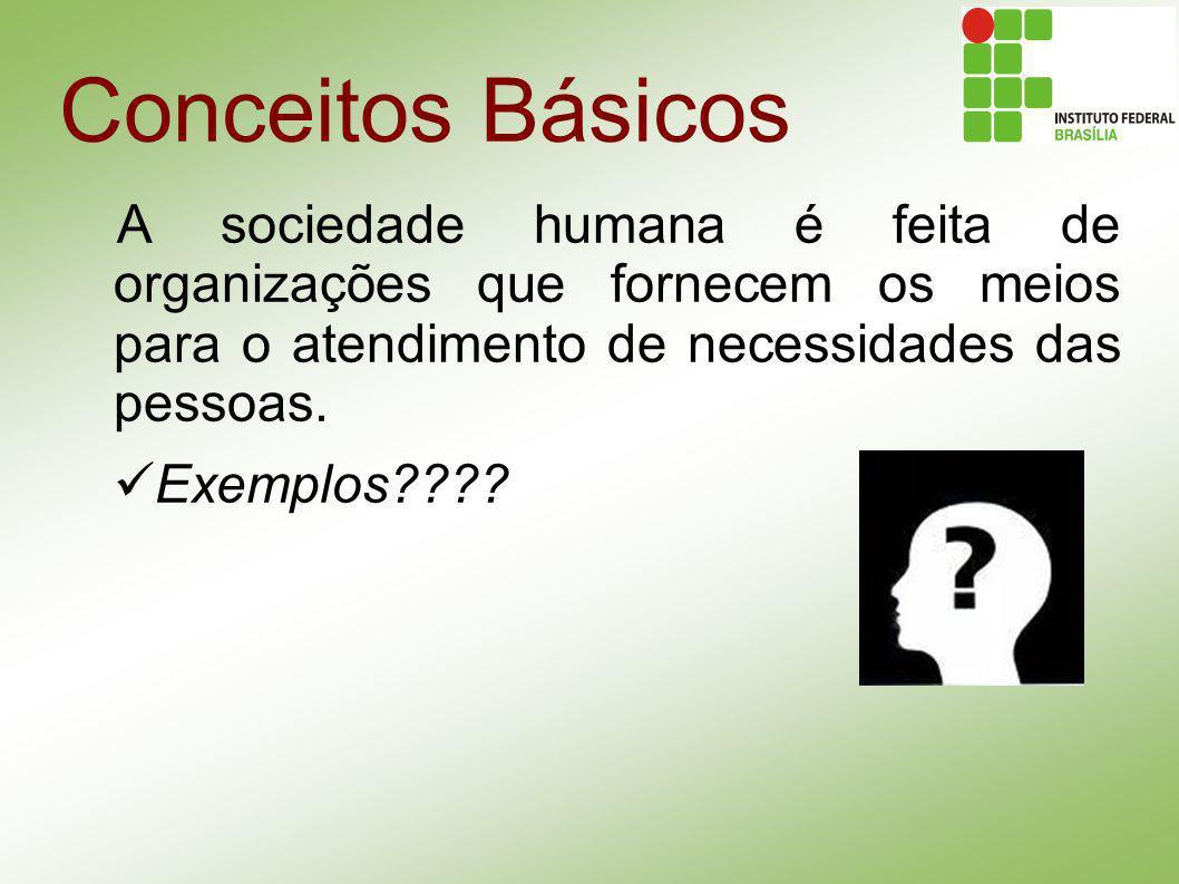 A sociedade humana é feita de organizações que fornecem os meios para o atendimento de necessidades das pessoas. Exemplos????
