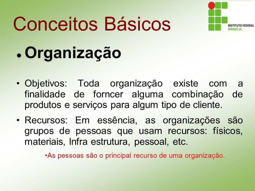 Conceitos Básicos Organização Objetivos: Toda organização existe com a finalidade de forncer alguma combinação de produtos e serviços para algum tipo