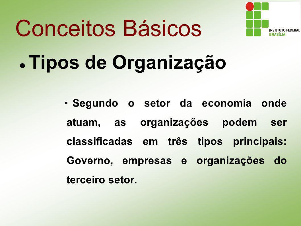 Conceitos Básicos Tipos de Organização Segundo o setor da economia onde atuam, as organizações podem ser classificadas em três tipos principais: Gover