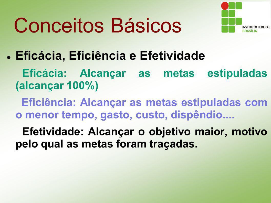 Conceitos Básicos Eficácia, Eficiência e Efetividade Eficácia: Alcançar as metas estipuladas (alcançar 100%) Eficiência: Alcançar as metas estipuladas