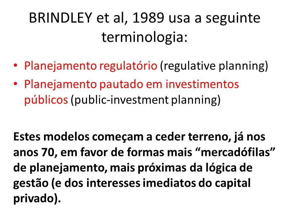 BRINDLEY et al, 1989 usa a seguinte terminologia: Planejamento regulatório (regulative planning) Planejamento pautado em investimentos públicos (publi