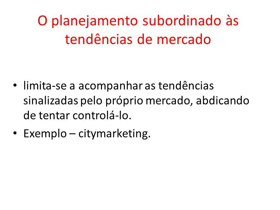 O planejamento subordinado às tendências de mercado limita-se a acompanhar as tendências sinalizadas pelo próprio mercado, abdicando de tentar control
