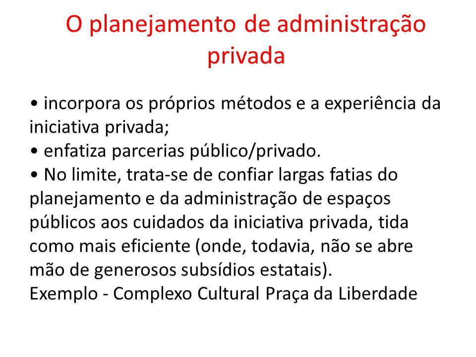 O planejamento de administração privada incorpora os próprios métodos e a experiência da iniciativa privada; enfatiza parcerias público/privado. No li