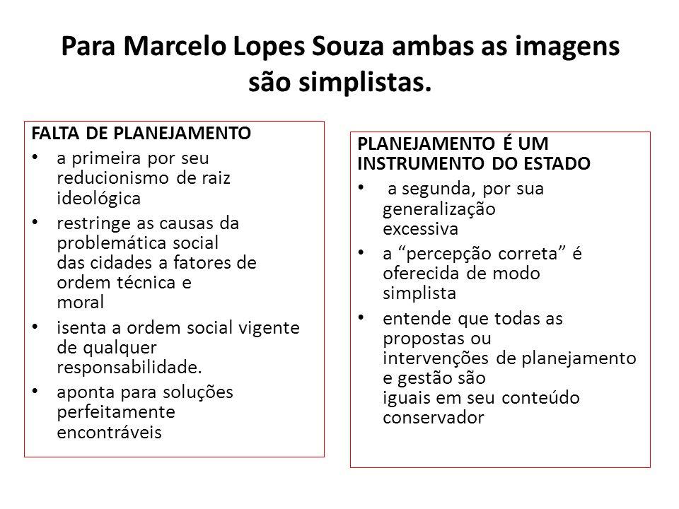 Para Marcelo Lopes Souza ambas as imagens são simplistas. FALTA DE PLANEJAMENTO a primeira por seu reducionismo de raiz ideológica restringe as causas
