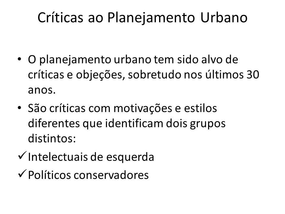 Críticas ao Planejamento Urbano O planejamento urbano tem sido alvo de críticas e objeções, sobretudo nos últimos 30 anos. São críticas com motivações