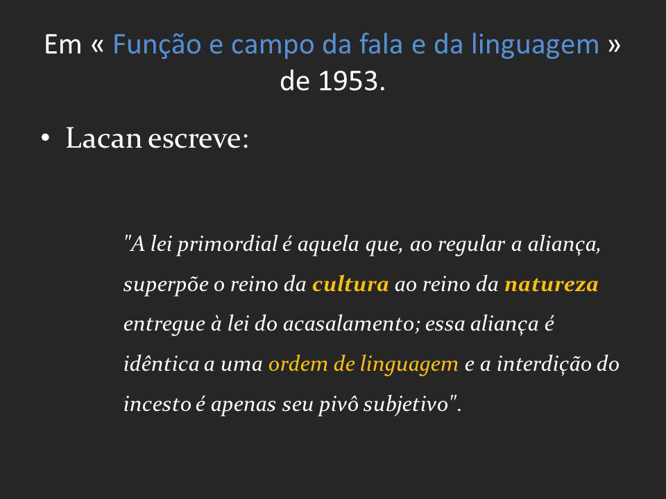 Em « Função e campo da fala e da linguagem » de 1953. Lacan escreve: