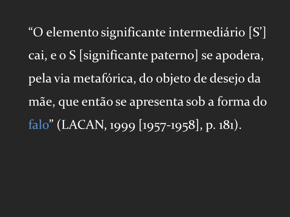 O elemento significante intermediário [S] cai, e o S [significante paterno] se apodera, pela via metafórica, do objeto de desejo da mãe, que então se