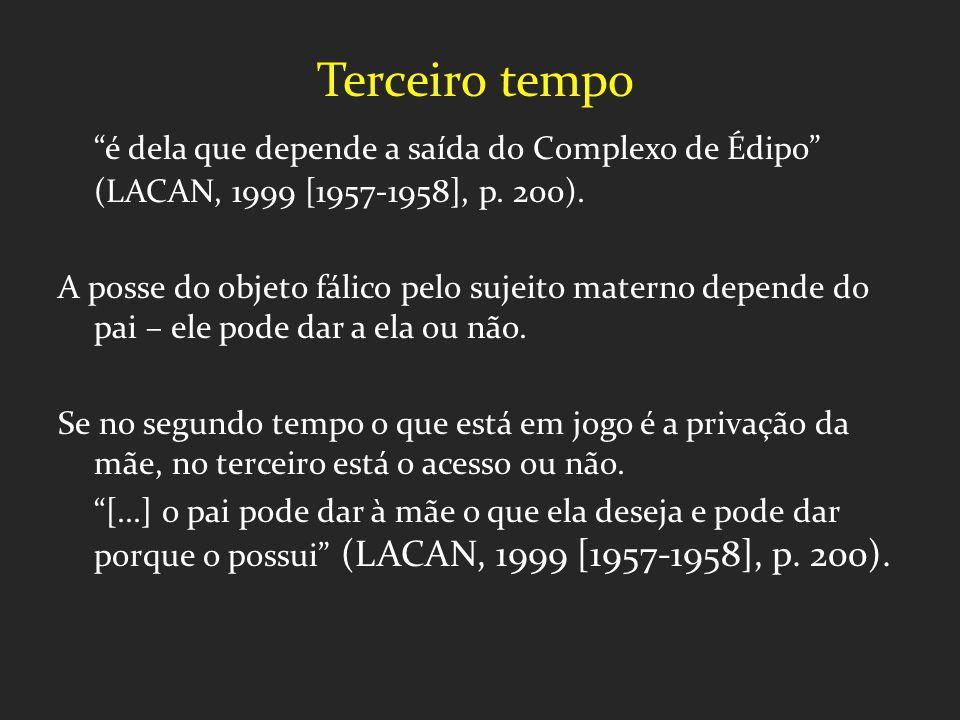 Terceiro tempo é dela que depende a saída do Complexo de Édipo (LACAN, 1999 [1957-1958], p. 200). A posse do objeto fálico pelo sujeito materno depend