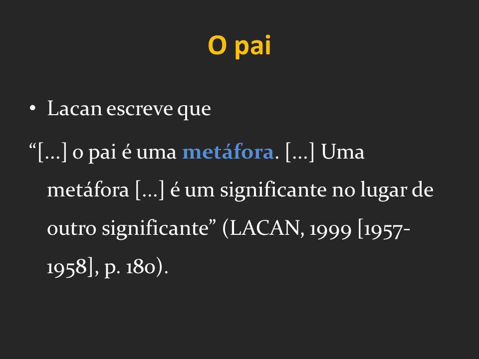 O pai Lacan escreve que [...] o pai é uma metáfora. [...] Uma metáfora [...] é um significante no lugar de outro significante (LACAN, 1999 [1957- 1958